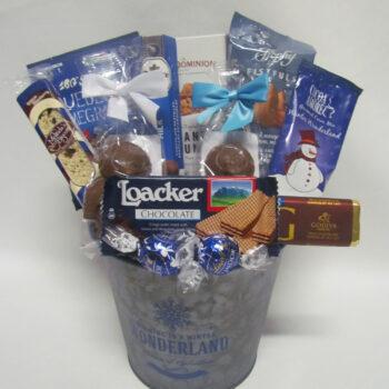 Blue Christmas Gift Basket